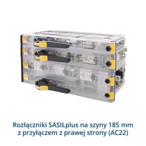 Rozłączniki SASILplus na szyny 185mm z przyłączem z prawej strony (AC22)